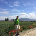 Nick O'Connell, founder of The Writer's Workshop, walking the Camino de Santiago outside Haro, Spain.